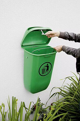 Abfallbehälter YORK aus Kunststoff, in maigrün ähnlich RAL 6017