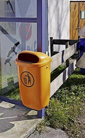 Abfallbehälter YORK aus Kunststoff, in gelborange ähnlich RAL 2000