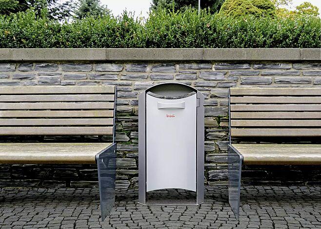Abfallbehälter BURNHAM mit Ascher, Behälter in RAL 9006 weißaluminium, Rahmen in eisenglimmergrau