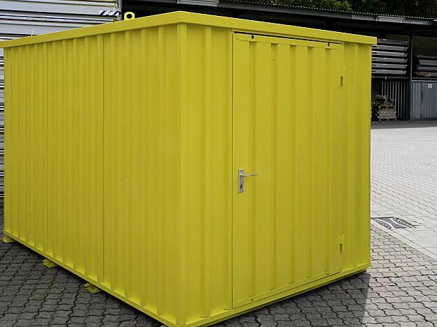 Materialcontainer BOSVILLE, Modell 3, feuerverzinkt und lackiert in RAL 1023 verkehrsgelb, inkl. Boden, Tür an Stirnseite