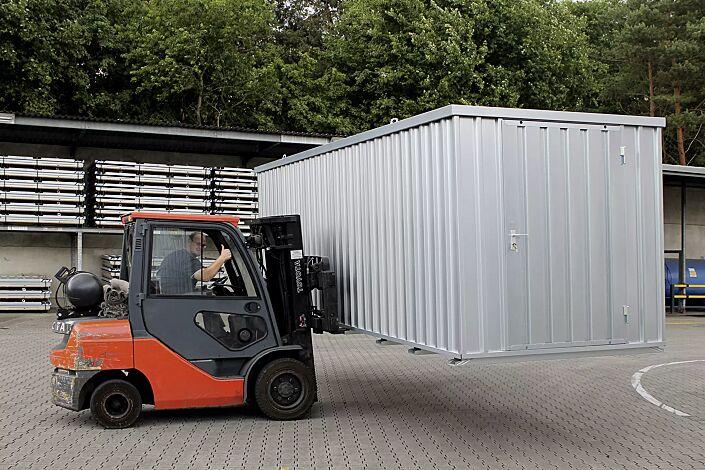 Materialcontainer BOSVILLE, Modell 6, feuerverzinkt, inkl. Boden, Tür an Stirnseite