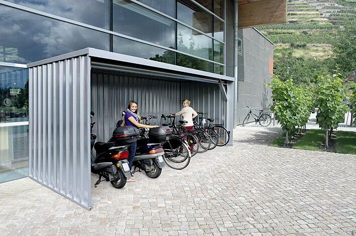 Fahrradüberdachung BALTIMORE Dachbreite x Dachtiefe 6100 mm x 2300 mm, Stahlkonstruktion feuerverzinkt, inkl. Rück- und Seitenwände Stahltrapezblech, Dacheindeckung Stahltrapezblech