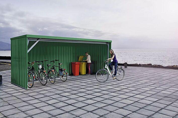 Fahrradüberdachung BALTIMORE, Dachbreite x Dachtiefe 6100 mm x 2300 mm, Stahlkonstruktion feuerverzinkt und lackiert in RAL 6005 moosgrün, inkl. Rück-, Seitenwänden und Dacheindeckung in Stahltrapezblech