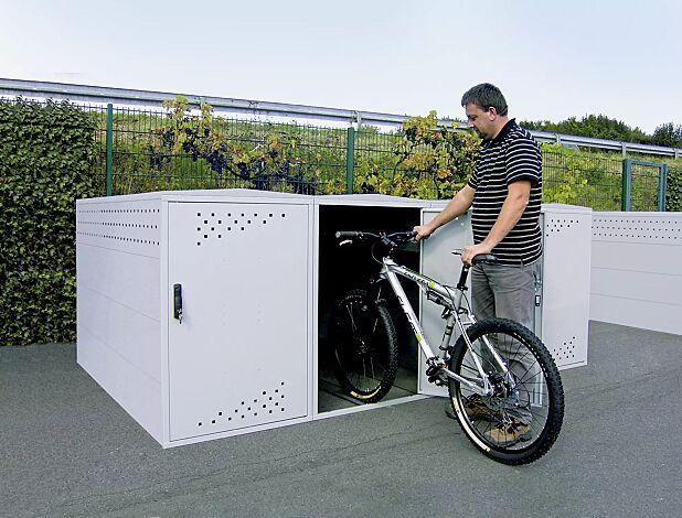 Fahrradgarage LEXINGTON mit Giebeldach, 1 Grund- und 3 Anbaueinheiten, Türanschlag DIN rechts, in RAL 9006 weißaluminium