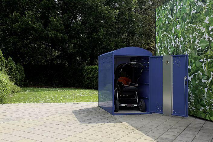 """<div id=""""container"""" class=""""container"""">Kinderwagenbox LEXINGTON, Grundeinheit mit Bogendach, Türanschlag DIN rechts, Rahmen, in RAL 5000 violettblau</div>"""