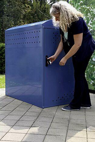 """<div id=""""container"""" class=""""container"""">Kinderwagenbox LEXINGTON, Grundeinheit mit Bogendach, Türanschlag DIN rechts, in RAL 5000 violettblau</div>"""