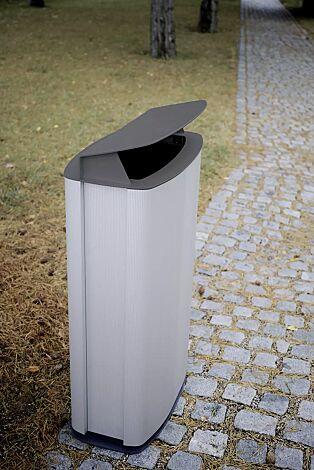 Abfallbehälter MAXIMINIUM, Stahlteile in RAL 9007 graualuminium und RAL 7016 anthrazitgrau