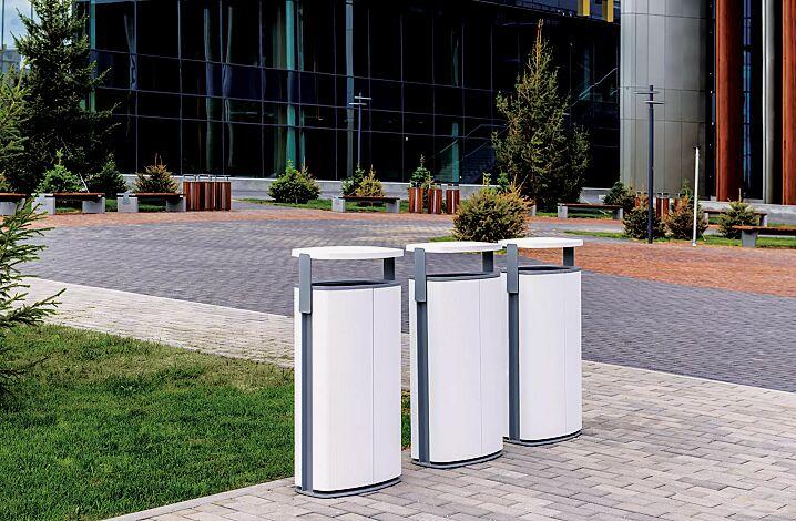 Abfallbehälter MINIUM mit Schutzdach, zum Aufdübeln, Stahlteile in RAL 9007 graualuminium und RAL 9010 reinweiß (zweifarbig auf Anfrage)