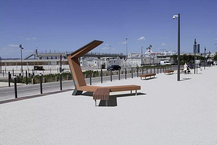 Sitzbank WOODY Scorpio mit Jatobaholzbelattung, Stahlteile in RAL 7016 anthrazitgrau