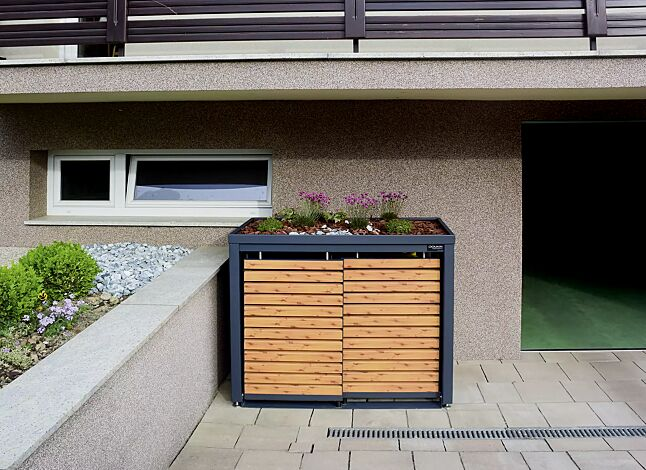 Müllbehälterschrank STYLEOUT® LINIS mit Pflanzdach, Doppelschrank, Stahlkonstruktion in RAL 7016 anthrazitgrau, Schiebetüren in Holzdekor Pinie