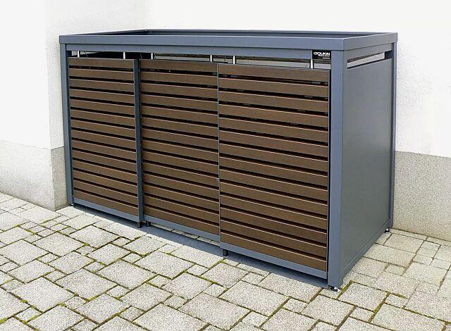 Müllbehälterschrank STYLEOUT® LINIS mit Pflanzdach, Dreifachschrank, Stahlkonstruktion in RAL 7016 anthrazitgrau, Schiebetüren in Holzdekor Wenge