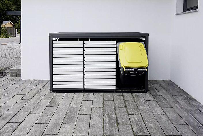Müllbehälterschrank STYLEOUT® LINIS mit Pflanzdach, Dreifachschrank, Stahlkonstruktion in RAL 7016 anthrazitgrau, Schiebetüren in RAL 9003 signalweiß