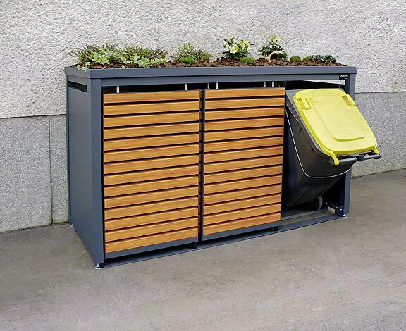 Müllbehälterschrank STYLEOUT® LINIS mit Pflanzdach, Dreifachschrank, Stahlkonstruktion in RAL 7016 anthrazitgrau, Schiebetüren in Holzdekor Douglasie
