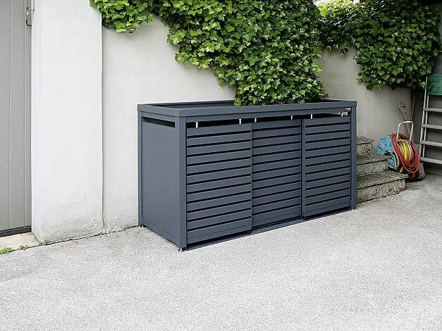 Müllbehälterschrank STYELOUT® LINIS mit Pflanzdach, Dreifachschrank, Stahlkonstruktion und Schiebetüren in RAL 7011 eisengrau