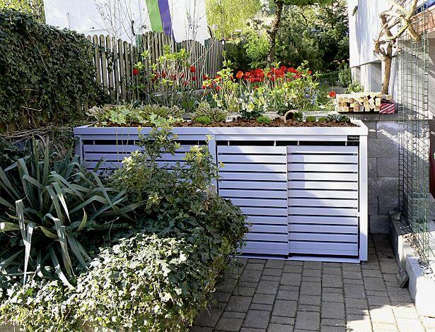 Müllbehälterschrank STYLEOUT® LINIS mit Pflanzdach, Vierfachschrank, Stahlkonstruktion und Schiebetüren in RAL 9006 weißaluminium