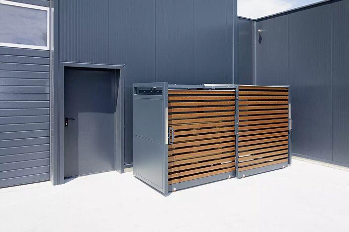 Müllbehälter-Doppelschrank STYLEOUT® LINIS 1100, Aluminiumkonstruktion in RAL 7016 anthrazitgrau, Dach Aluminium eloxiert, Türlamellen in Holzdekor Douglasie