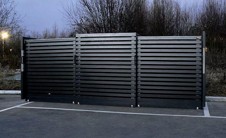 Müllbehälterschrank STYLEOUT® LINIS 1100, Stahlkonstruktion, Tür, Rück- und Seitenwände in RAL 7016 anthrazitgrau, Dach in Aluminium eloxiert