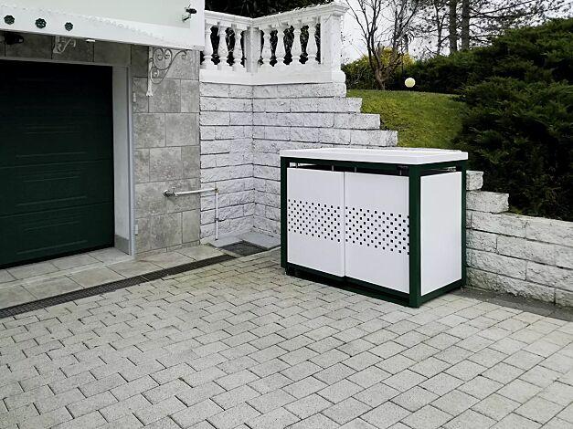 Müllbehälterschrank STYLEOUT® QUBIS mit Pflanzdach, Doppelschrank, Stahlkonstruktion in RAL 6005 moosgrün, Dach, Schiebetüren, Rück- und Seitenwände in RAL 9003 signalweiß
