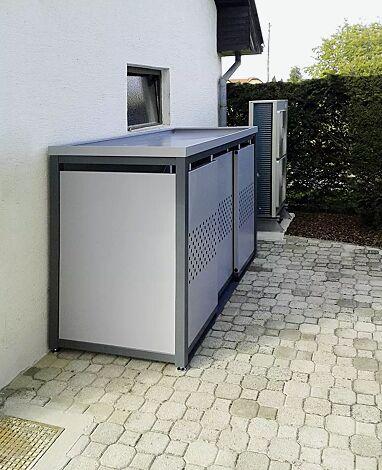 Müllbehälterschrank STYLEOUT® QUBIS mit Pflanzdach, Dreifachschrank, Stahlkonstruktion in RAL 7016 anthrazitgrau, Dach, Schiebetüren, Rück- und Seitenwände in RAL 9006 weißaluminium