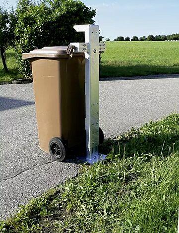 Mülltonensäule FIXOUT, feuerverzinkt, zum Aufdübeln, für Mülltonnen 120 bis 240 L