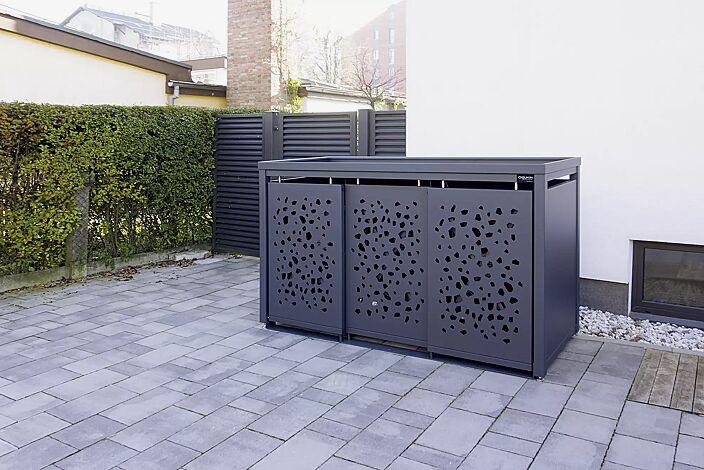 Müllbehälterschrank STYLEOUT® TOMO mit Pflanzdach, Dreifachschrank, Stahlkonstruktion in RAL 7016 anthrazitgrau