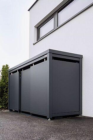 Müllbehälterschrank STYLEOUT® BLANK mit Pflanzdach, Dreifachschrank, Stahlkonstruktion, Dach, Schiebetüren, Rück- und Seitenwände in RAL 7016 anthrazitgrau
