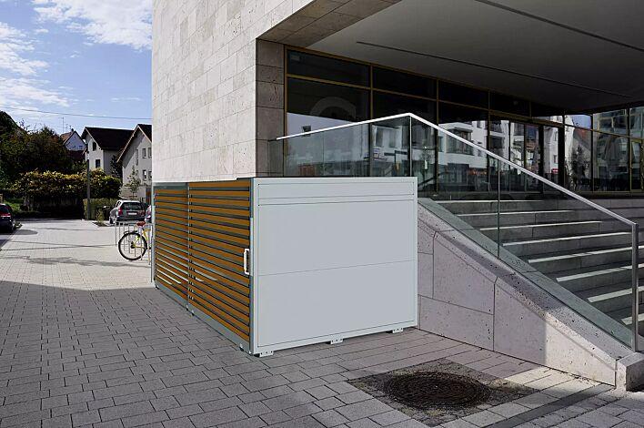 Fahrradgarage STYLEOUT® BIKE L, Rück- und Seitenwände in RAL 7035 lichtgrau, Schiebetüren in Holzdekor Douglasie