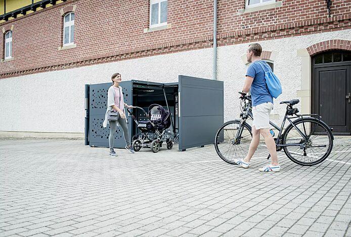 Fahrradgarage STYLEOUT® BIKE T, Rück-, Seitenwände und Schiebetüren in RAL 7016 anthrazitgrau, Dach Aluminium eloxiert, mit Ablagefläche und Steckdosenleiste (Mehrpreis)