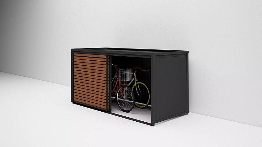 """<div id=""""container"""" class=""""container"""">Universaldepot STYLEOUT® LINIS STORE als Fahrradgarage, Stahlkonstruktion sowie Wandelemente in RAL 7016 anthrazitgrau, Türlamellen in kirschbaum dunkel</div>"""