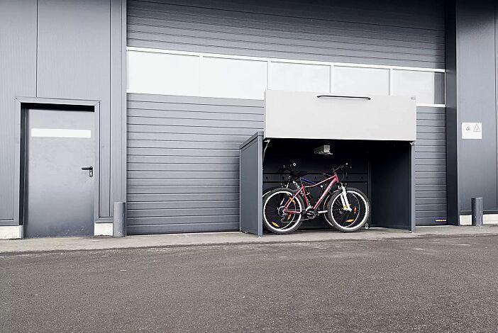 Fahrradgarage STYLEOUT® GARAGE, inkl. Steckdosenleiste, Stahlkonstruktion in RAL 7016 anthrazitgrau, Öffnungsklappe in RAL 9007 graualuminium