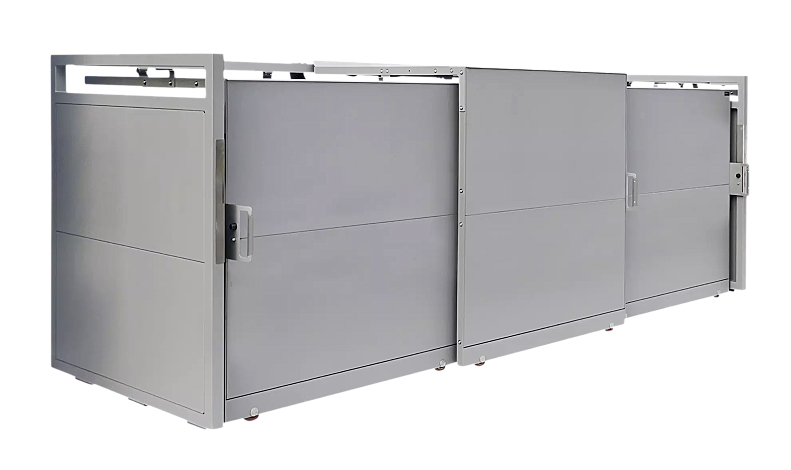 "<div id=""container"" class=""container"">Müllbehälter-Dreifachschrank STYLEOUT® BLANK 1100, Aluminiumkonstruktion in RAL 9007 graualuminium</div>"