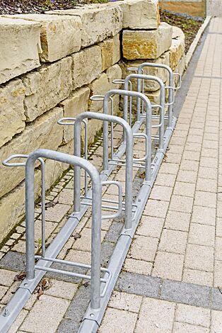 Fahrradparker MISSOURI einseitig 90°, tief, zum Aufdübeln bei +/- 0 mm, 5 Stellplätze, feuerverzinkt