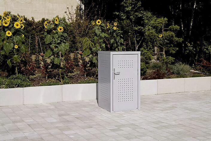 Müllbehälter-Einzelschrank FLEET, in RAL 9006 weißaluminium, Tür mit Türdrücker außen und innen