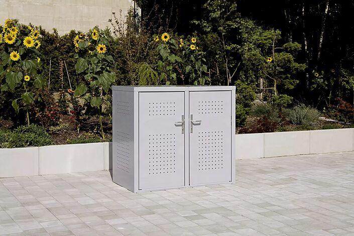 Müllbehälter-Doppelschrank FLEET, in RAL 9006 weißaluminium, Türen mit Türdrücker außen und innen