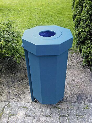 Abfallbehälter HAMBURG, aus Stahl- mit Ungeziefer-Bekämpfungs-Einrichtung, in RAL 5015 himmelblau