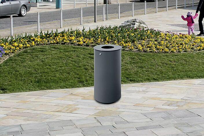 Abfallbehälter NORANDA, ohne Ascher, in RAL 7016 anthrazitgrau