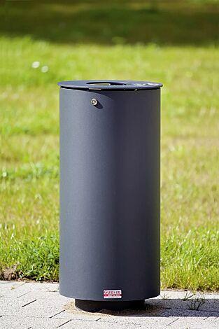 Abfallbehälter NORANDA, mit Ascher, in RAL 7016 anthrazitgrau