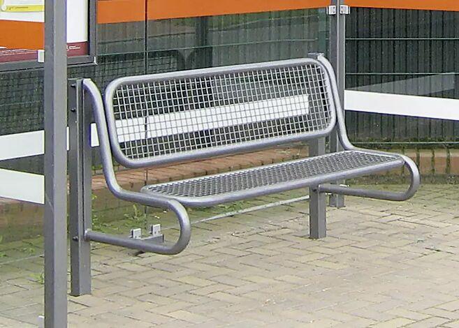 Sitzbank SESTO mit Rückenlehne, Modell 4, Sitzfläche aus Drahtgitter, mit 2 Stützen zum Einbetonieren, in DB 703 eisenglimmer