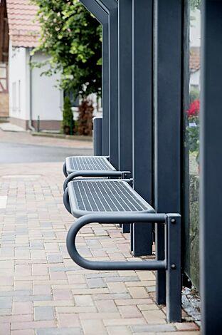 Sitzbank ohne Rückenlehne, Sitzfläche aus Drahtgitter, mit 2 Stützen, zum Einbetonieren, in RAL 7016 anthrazitgrau