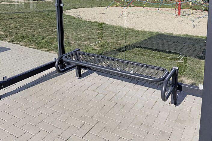 Sitzbank SESTO ohne Rückenlehne, Sitzfläche aus Drahtgitter, mit 2 Stützen, zum Einbetonieren, in RAL 7021 schwarzgrau