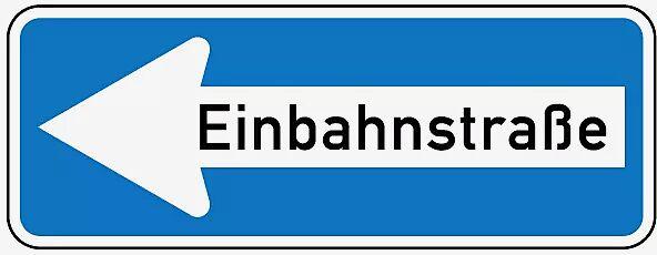 Verkehrszeichen: Einbahnstraße linksweisend