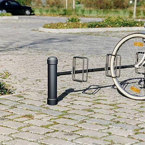 Fahrradständer mit Poller STIL 76 einseitig, 3 Stellplätze, in RAL 7016 anthrazitgrau