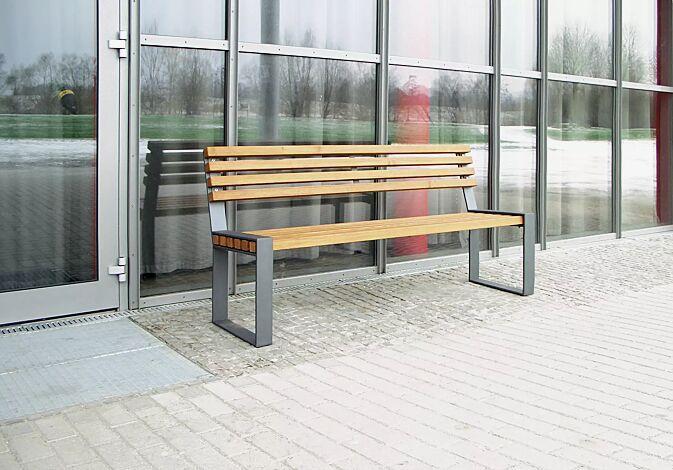 Sitzbank TAMORES mit Rückenlehne, Stahlteile in DB 703 eisenglimmer
