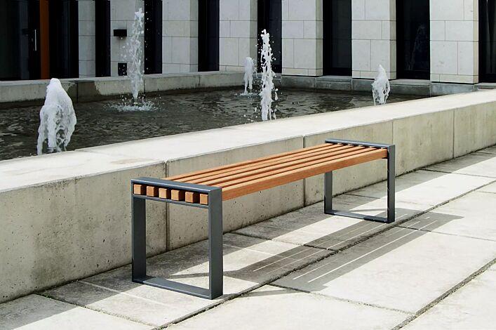 Sitzbank TAMORES, ohne Rückenlehne, Stahlteile in DB 703 eisenglimmer