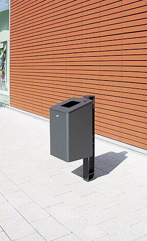 Abfallbehälter TAMORES mit Ascher, in DB 703 eisenglimmer