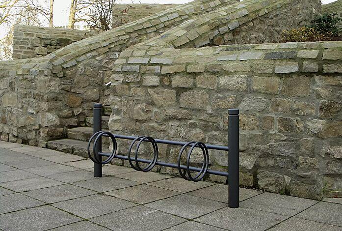 Fahrradständer mit Poller BOULEVARD 83 einseitig, 3 Stellplätze, in DB 703 eisenglimmer