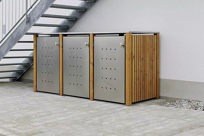 Müllbehälter-Dreifachschrank FONTANA, Türen und Dach aus Edelstahl, Pfosten, Rück- und Seitenwandelemente aus Lärchenholz