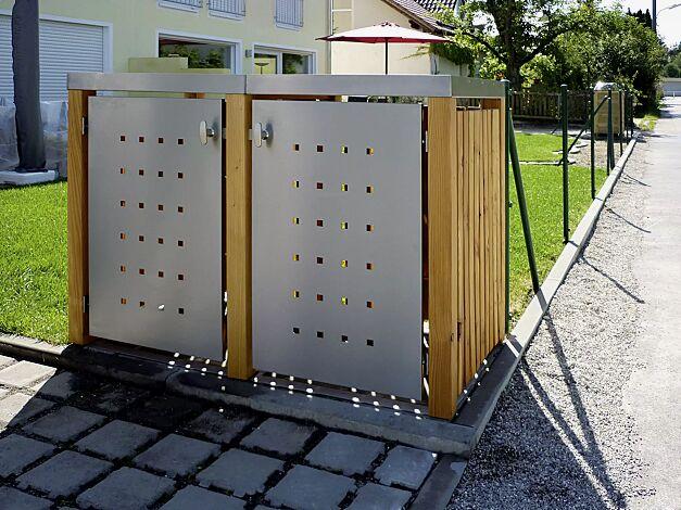 Müllbehälter-Doppelschrank FONTANA, Türen und Dach aus Edelstahl, Pfosten, Rück- und Seitenwandelemente aus Lärchenholz