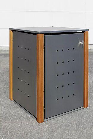 Müllbehälter-Einzelschrank GARLAND mit Flachdach, Türen, Dach, Rück- und Seitenwandelemente aus Edelstahl, Pfosten in Lärchenholz
