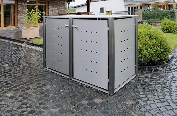 Müllbehälter-Doppelschrank TORRANCE, komplett in Edelstahl